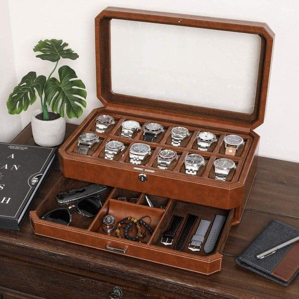 rothwell 12 Slot Leather Watch Box with Valet Drawer - Luxury Watch Case Display Organizer
