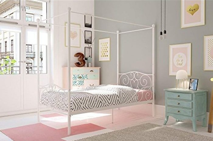 dhp-canopy-bed-with-sturdy-bed-frame