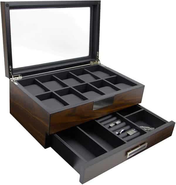 Decorebay Executive High Class Wood Watch, Sunglasses, Cuff Link Case & Ring
