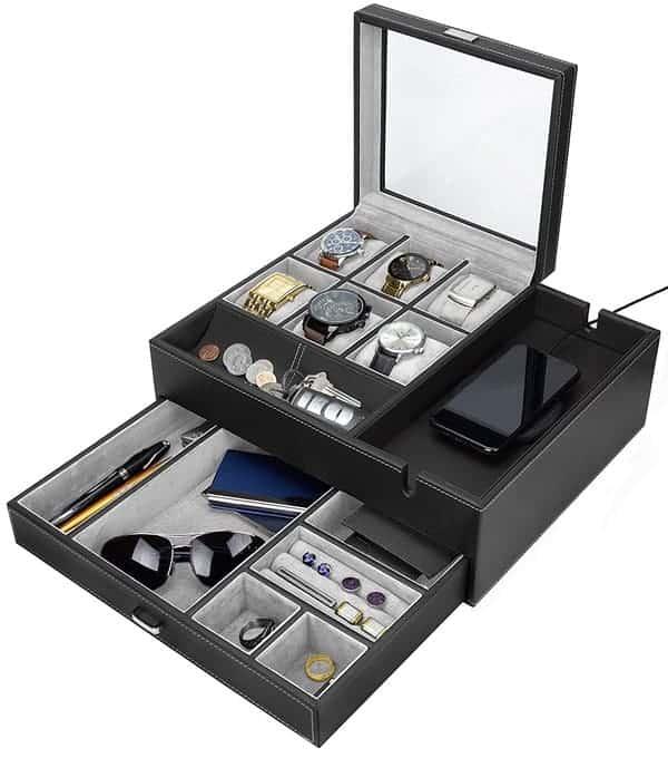 HOUNDSBAY Commander Dresser Valet Watch Box Case & Mens Jewelry Box