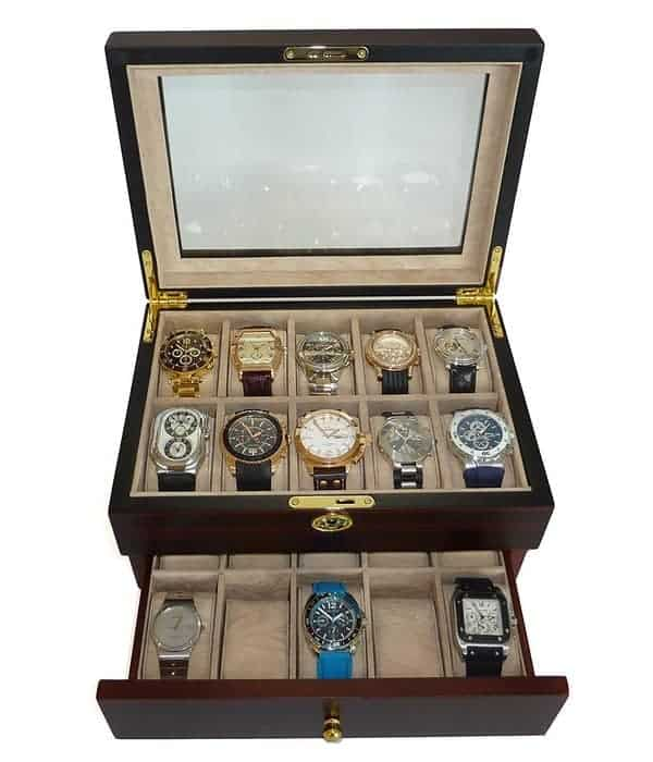 TIMELYBUYS 20 Piece Ebony Walnut Wood Men's Watch Box Display Case Collection Jewelry Box Storage Glass Top