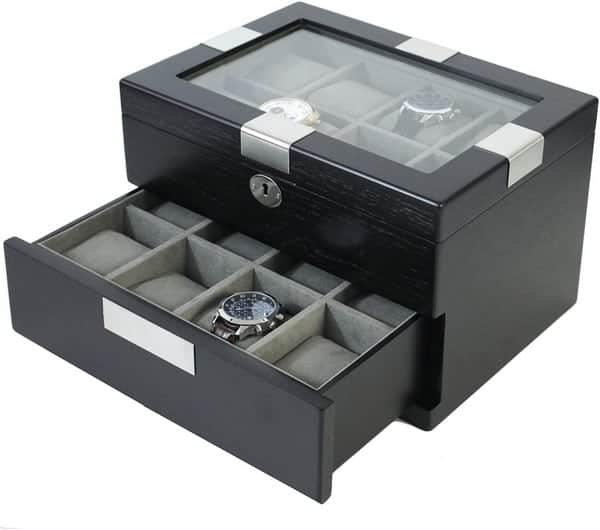 Tech Swiss Extra Large Watch Box for 16 Oversized Watches Black Engravable Plate