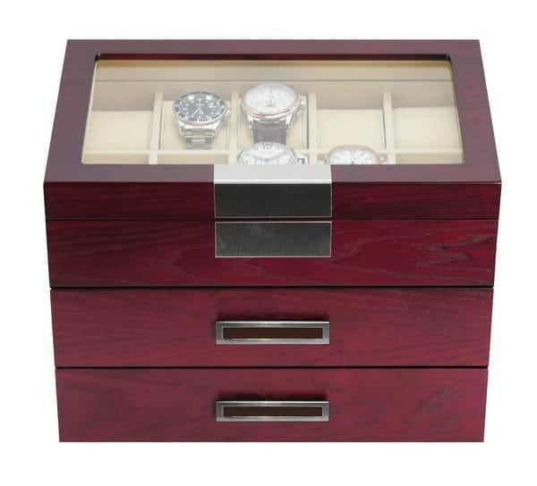 TimelyBuys Luxury 30 Cherry Wood Watch Box Display Case 3 Level Storage